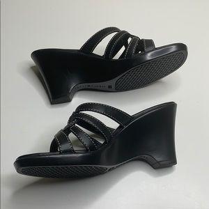 Tommy Hilfiger Shoes - TOMMY HILFIGER Black Strappy Open Toe Wedges 7.5